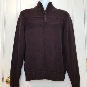 Dockers Cotton 1/4 Zip Sweater Burgundy Black NICE